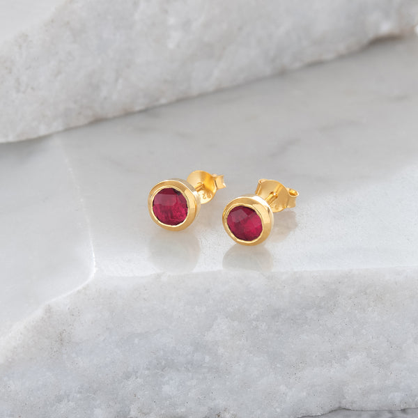 Birthstone Stud Earrings October: Pink Tourmaline and Gold Vermeil