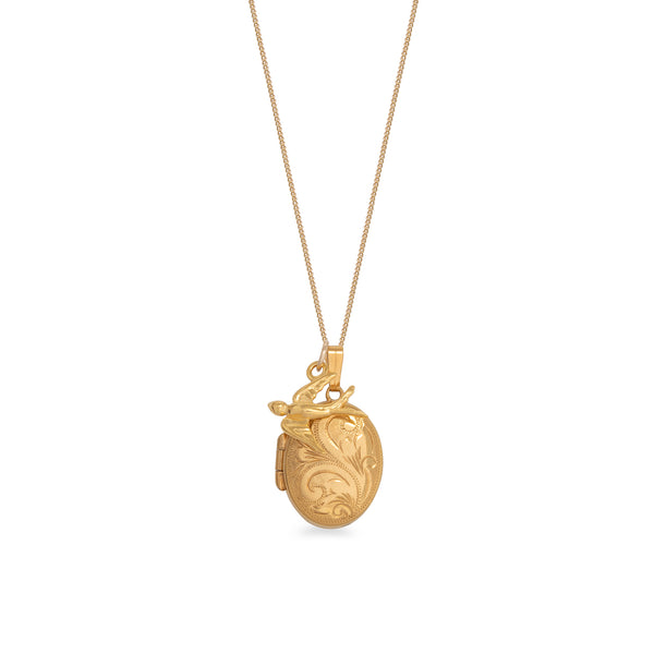 Engraved Oval Locket with Swallow Necklace Rolled Gold