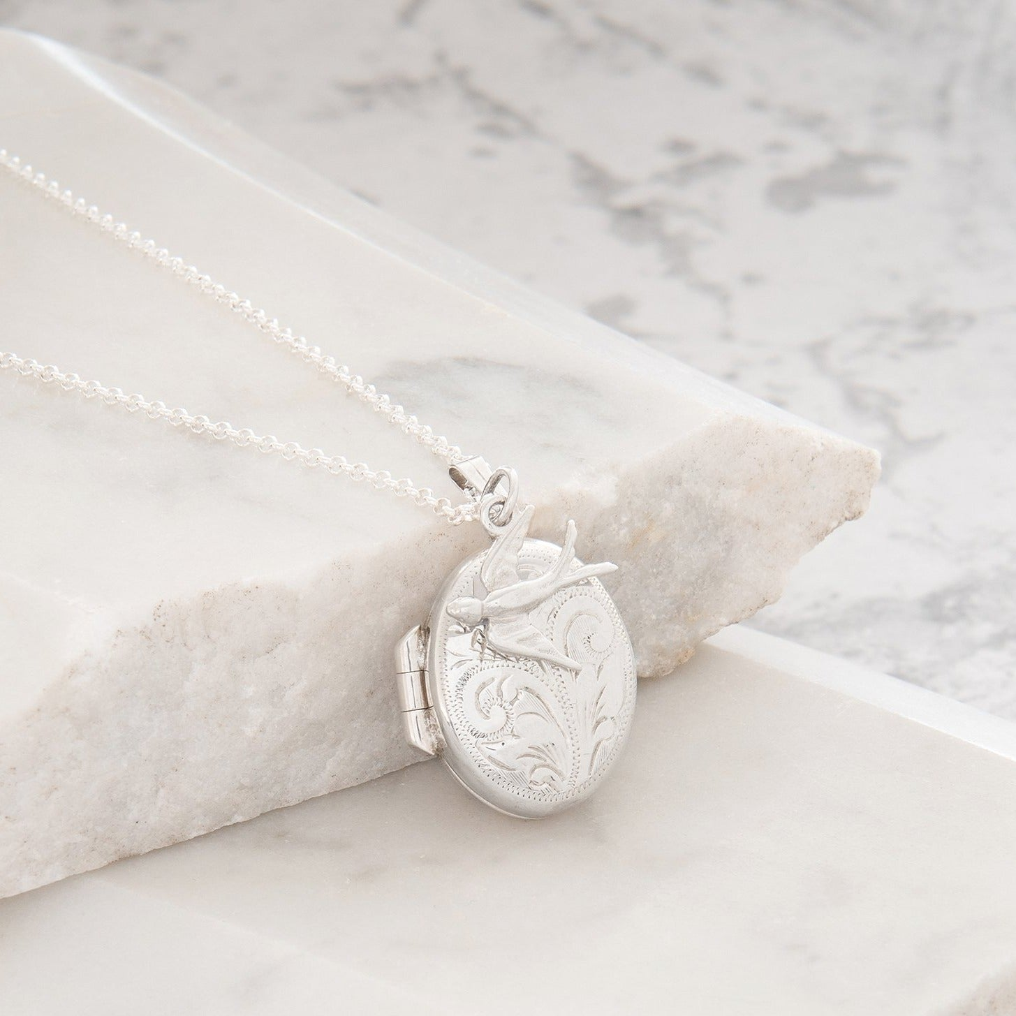 Personalised Engraved Oval Locket with Swallow Necklace Sterling Silver