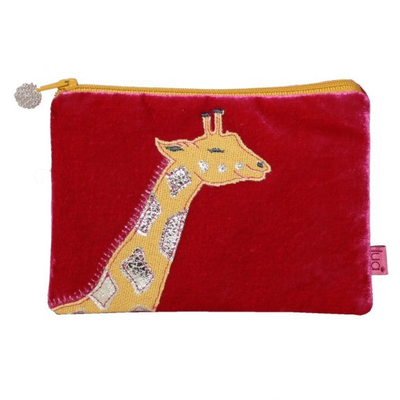 Velvet Coin Purse with Giraffe Appliqué: Hot Pink