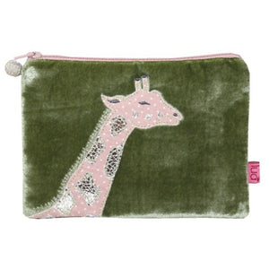 Velvet Coin Purse with Giraffe Appliqué: Olive