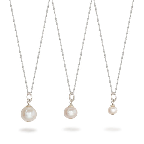Round Pearl Necklace Sterling Silver