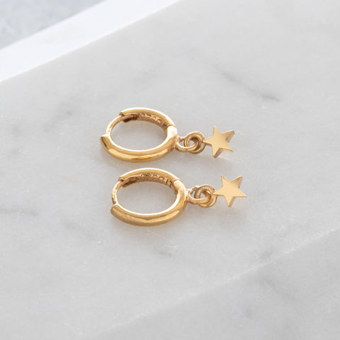 Huggie Hoop Earrings with Mini Star Gold Vermeil