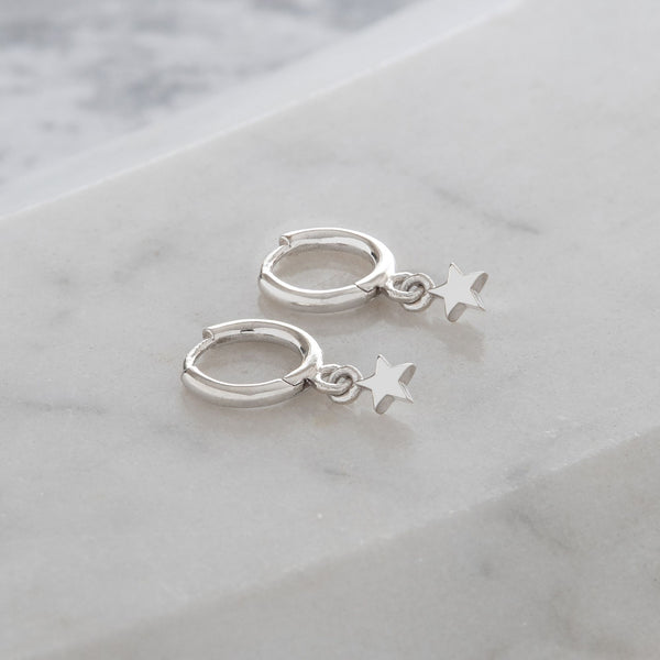 Huggie Hoop Earrings with Mini Star Sterling Silver