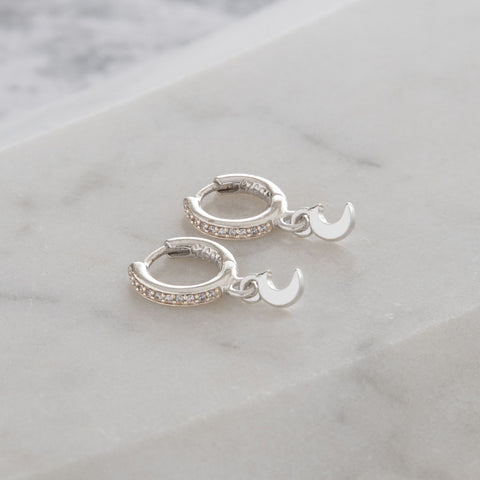 Huggie Hoop Earrings with Mini Moon Diamanté