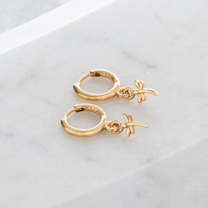 Huggie Hoop Earrings with Mini Dragonfly Gold Vermeil