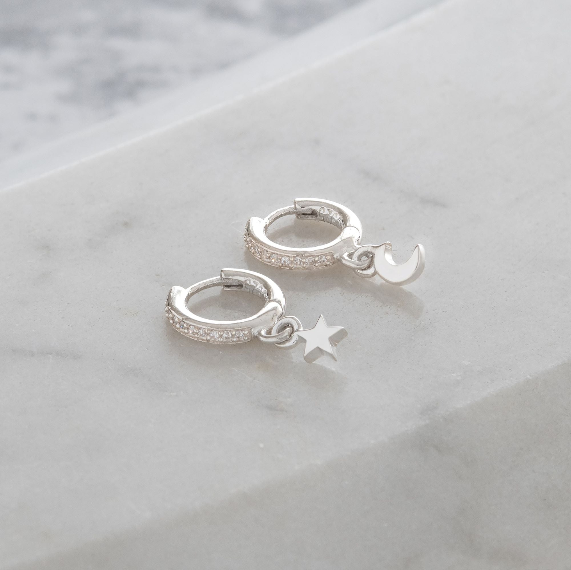 Huggie Hoop Earrings with Mini Moon and Star Diamanté
