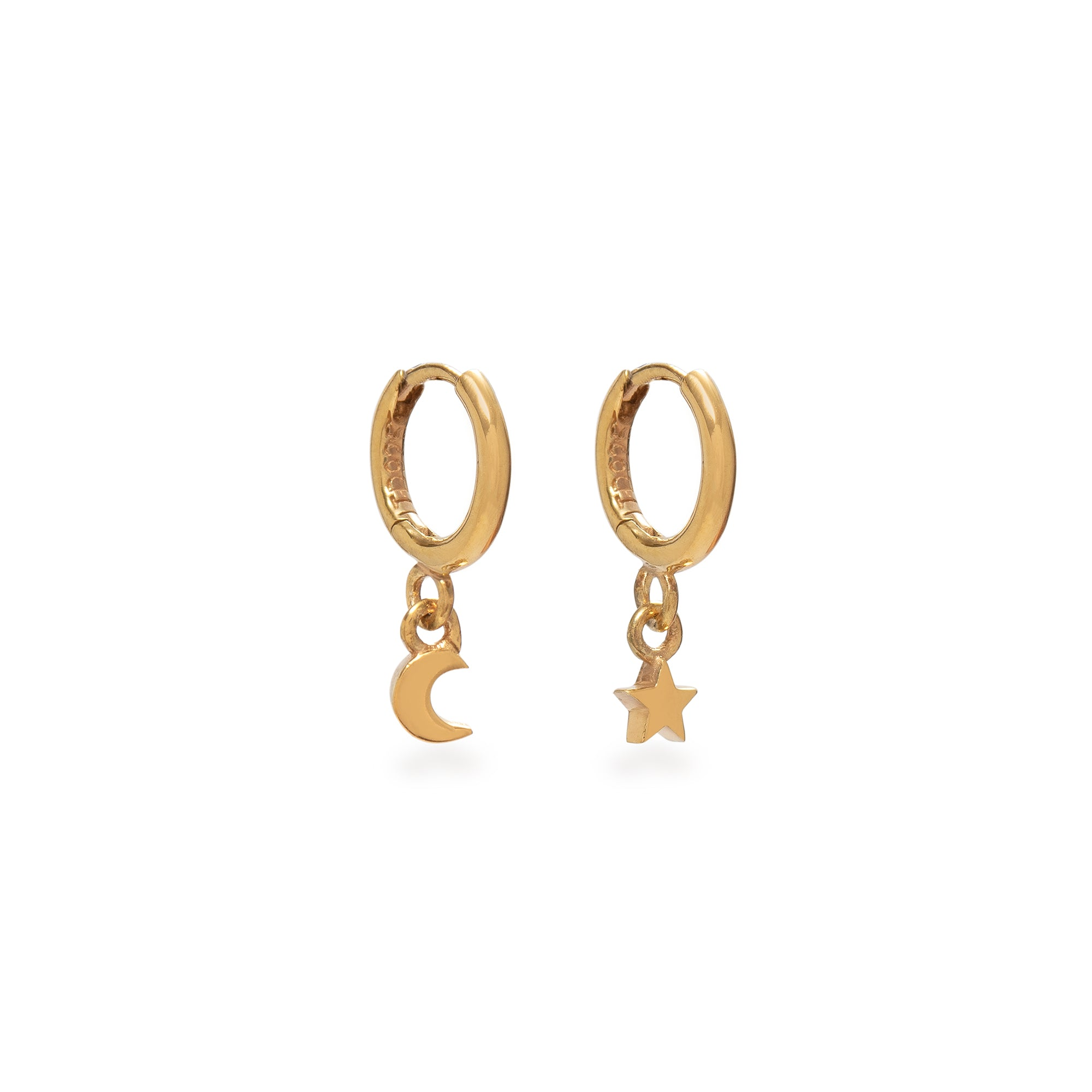 Huggie Hoop Earrings with Mini Moon and Star Gold Vermeil