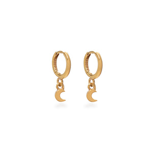 Huggie Hoop Earrings with Mini Moon Gold Vermeil