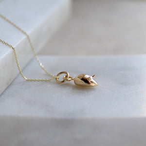 Tiny Mouse Charm Necklace 14ct Solid Gold