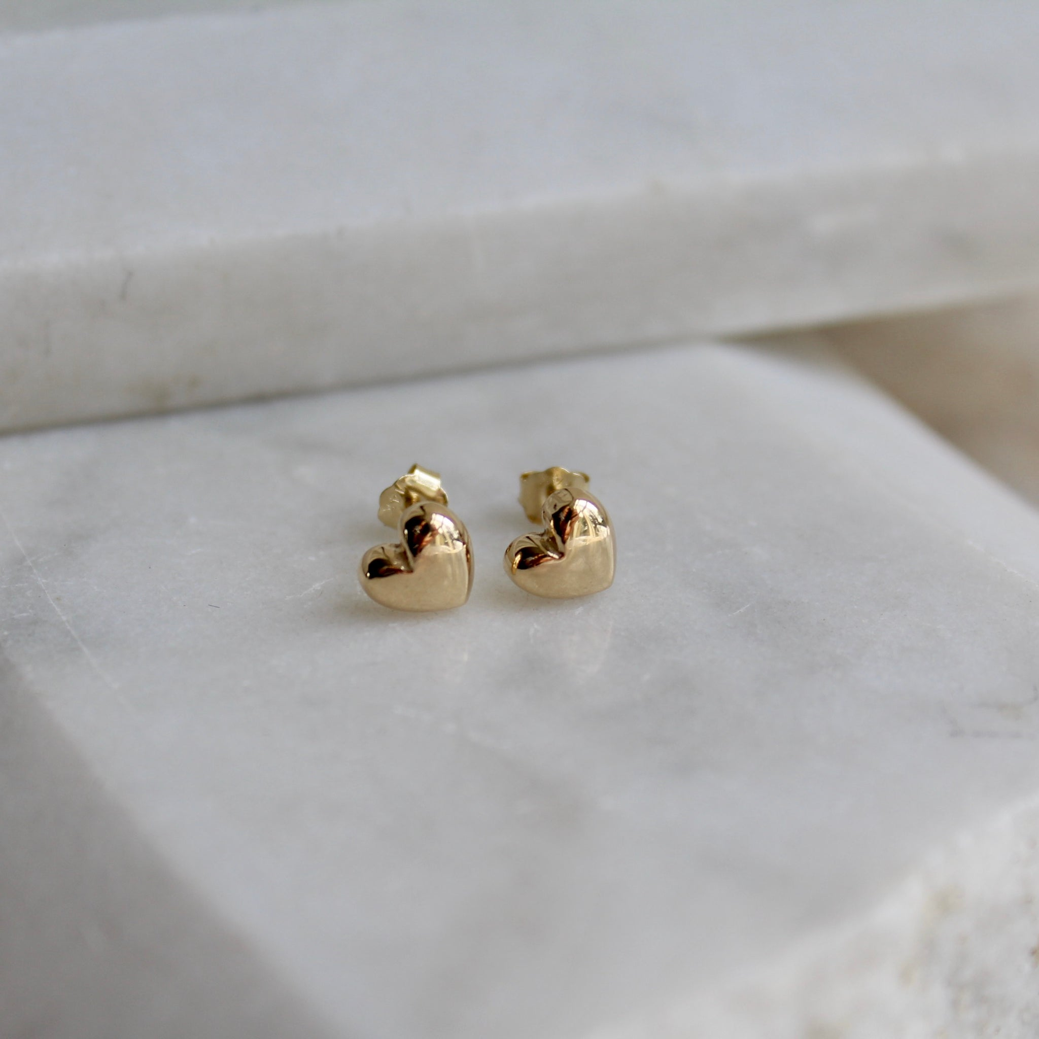 Tiny Heart Stud Earrings 14ct Solid Gold