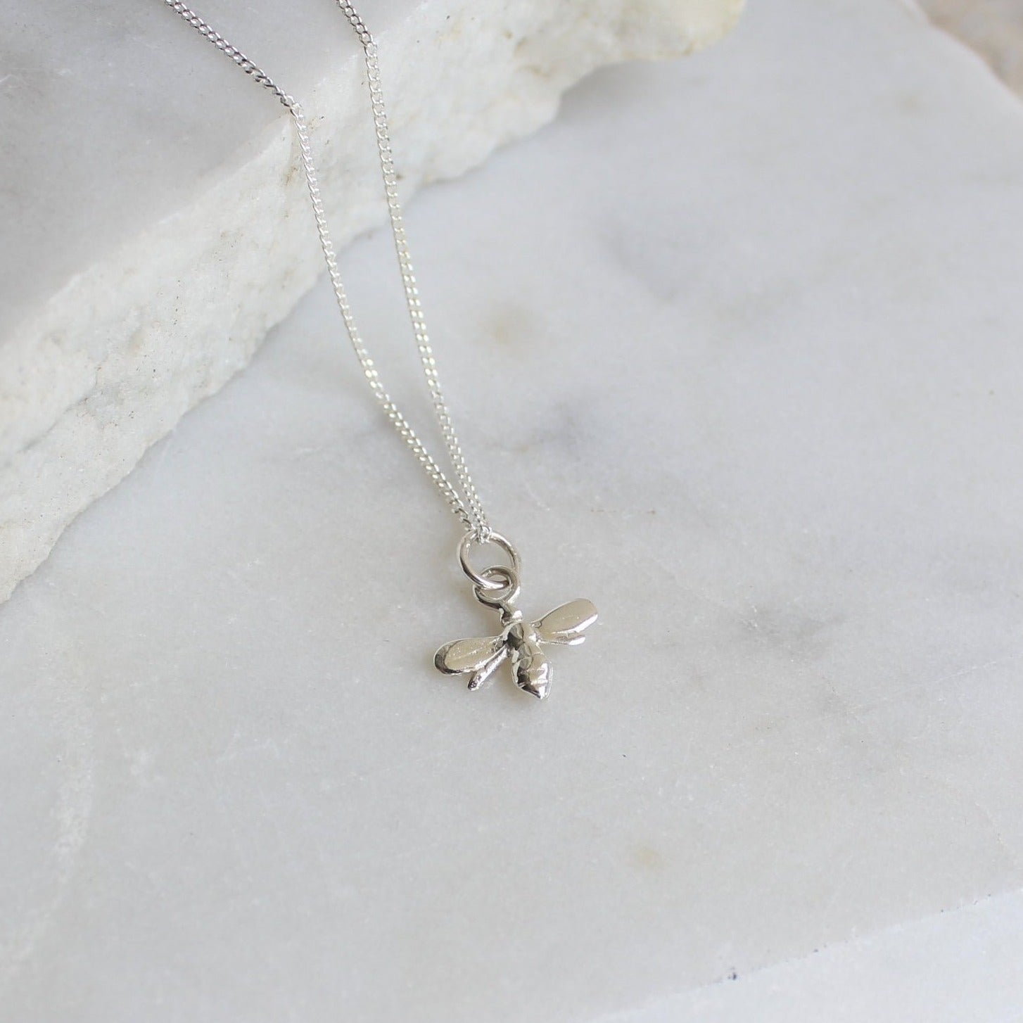 Tiny Bee Charm Necklace Sterling Silver