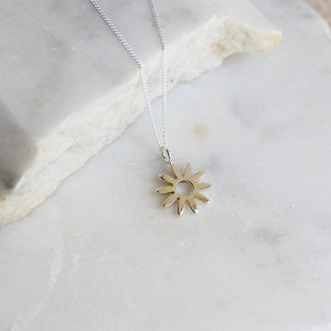 Flower Charm Necklace Sterling Silver