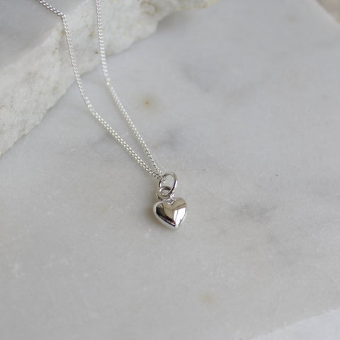 Tiny Heart Charm Necklace Sterling Silver