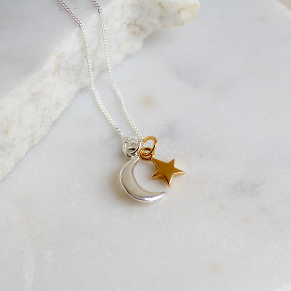 Moon and Star Necklace Sterling Silver and Gold Vermeil