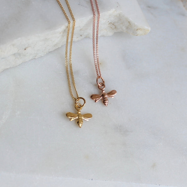 Tiny Bee Charm Necklace Gold or Rose Gold Vermeil