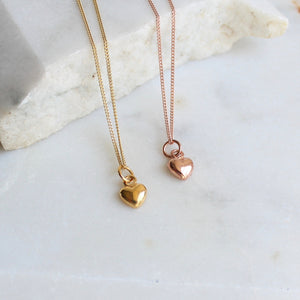 Tiny Heart Charm Necklace Gold or Rose Gold Vermeil