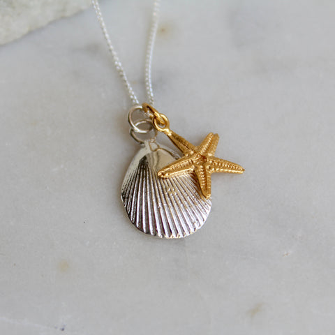 Shell and Starfish Necklace Sterling Silver and Gold Vermeil