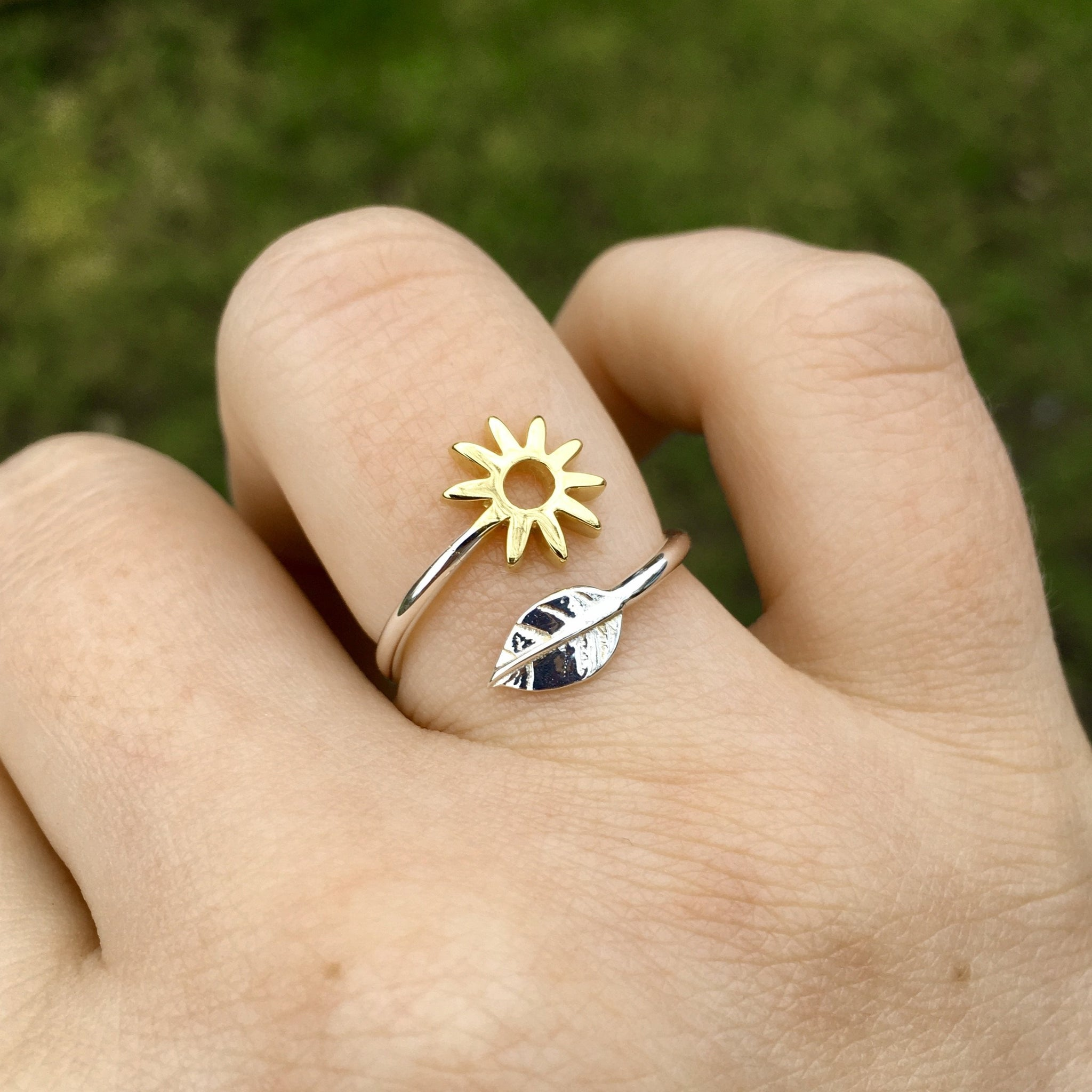 Adjustable Flower and Leaf Charm Ring Sterling Silver and Gold Vermeil