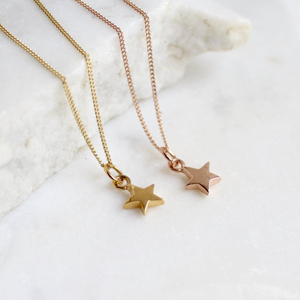 Tiny Star Charm Necklace Gold or Rose Gold Vermeil