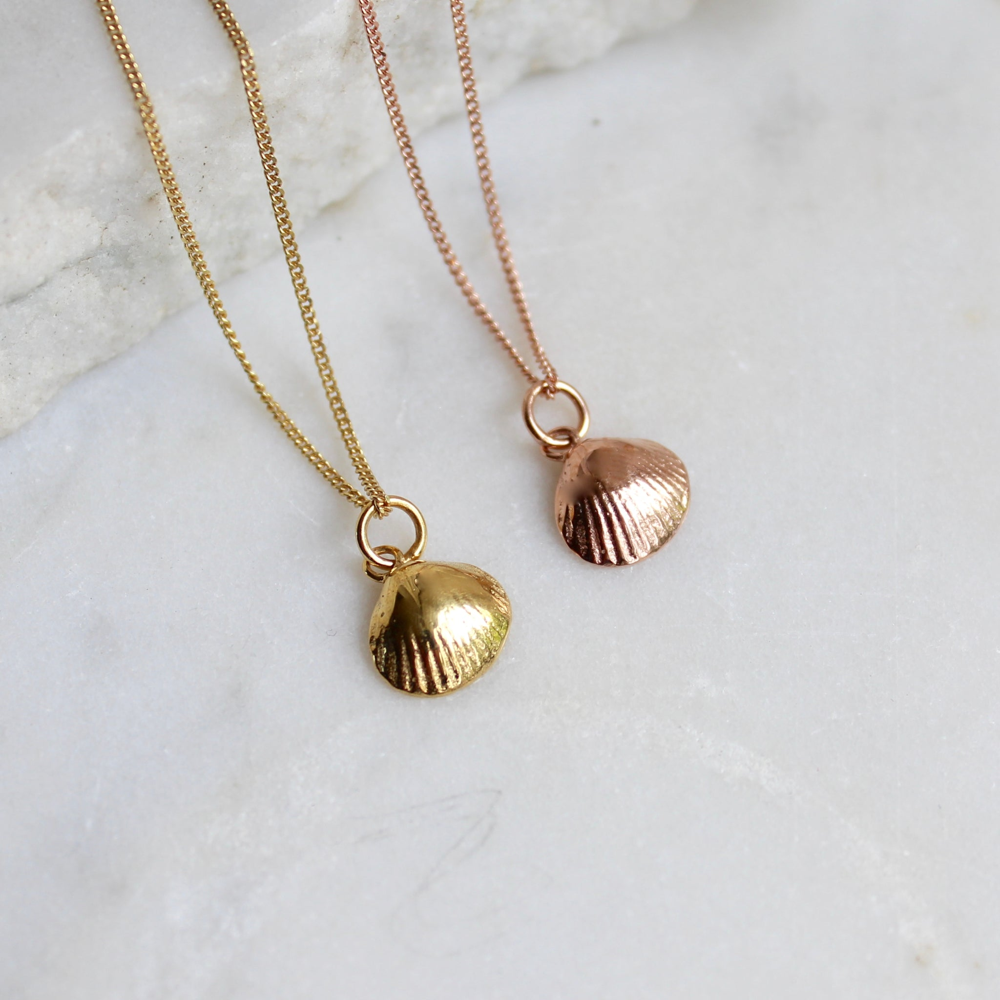 Tiny Shell Charm Necklace Gold or Rose Gold Vermeil