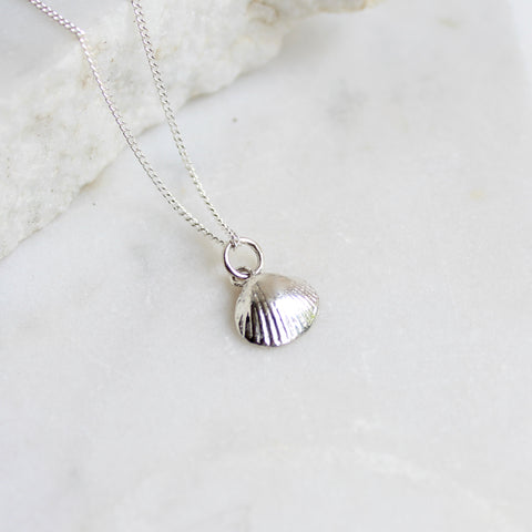 Tiny Shell Charm Necklace Sterling Silver