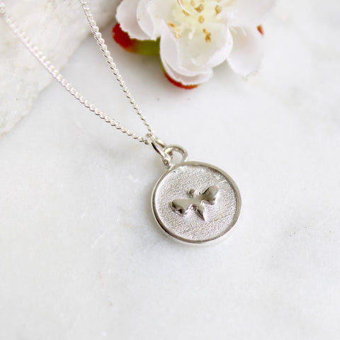 Small Bee Medallion Necklace Sterling Silver