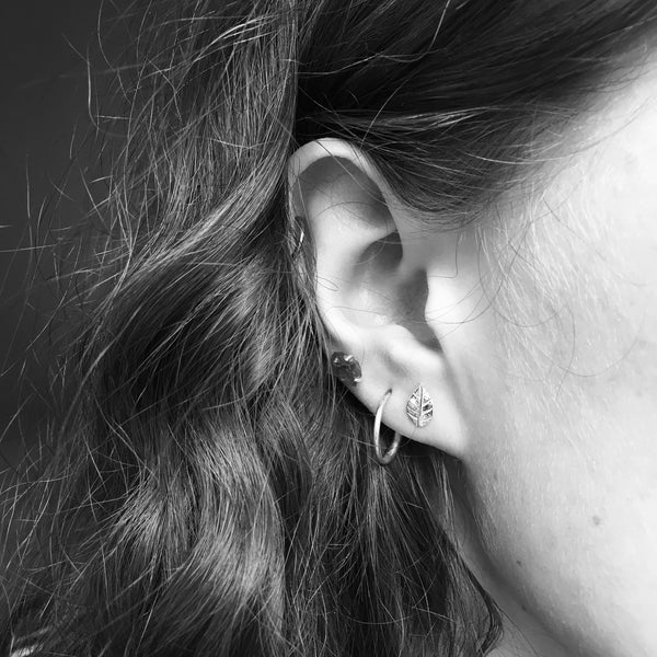 Leaf Stud Earrings Sterling Silver