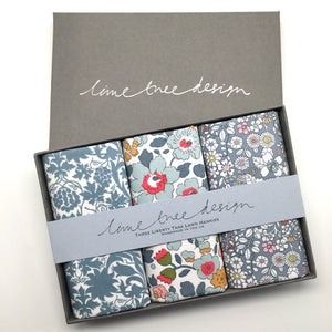 3 Liberty Hankies in a Gift Box - Earl Grey