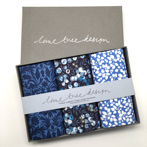 3 Liberty Hankies in a Gift Box - Moonlight Sonata