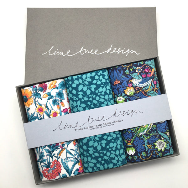3 Liberty Hankies in a Gift Box - Strawberry Hill