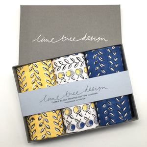 3 Block Printed Hankies in a Gift Box - Navy and Yellow Apples and Vines
