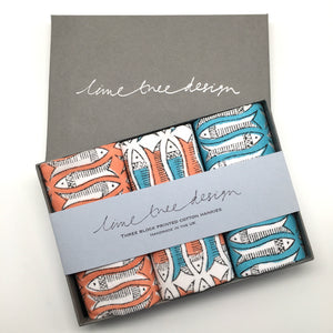 3 Block Printed Hankies in a Gift Box - Orange and Turquoise Fish