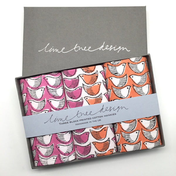 3 Block Printed Hankies in a Gift Box - Pink and Orange Birds