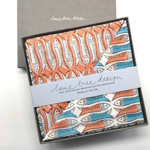 Box of 2 Block Printed Bandanas - Orange and Turquoise Fish