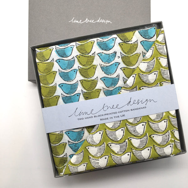 Box of 2 Block Printed Bandanas - Blue and Olive Birds