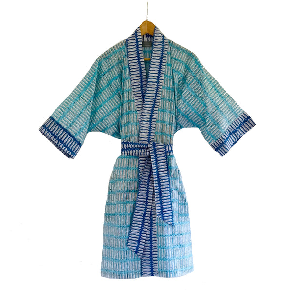 Block Printed Kimono Turquoise and Blue Fish