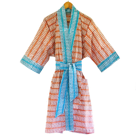 Block Printed Kimono Orange and Turquoise Fish