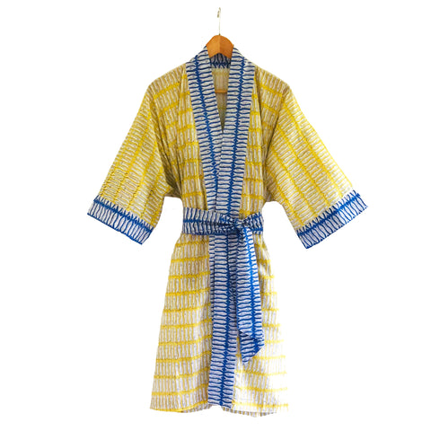 Block Printed Kimono Mustard and Blue Fish