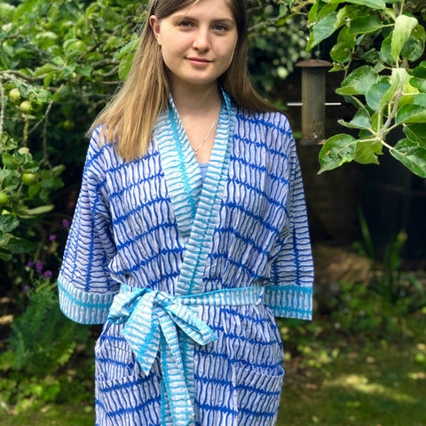 Block Printed Kimono Blue and Turquoise Fish