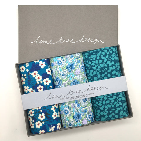 3 Liberty Hankies in a Gift Box - Oxford Blue