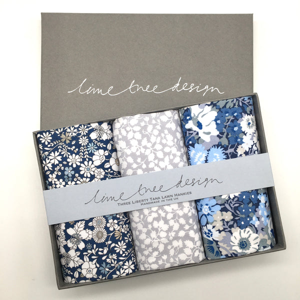 3 Liberty Hankies in a Gift Box - Cool Blue