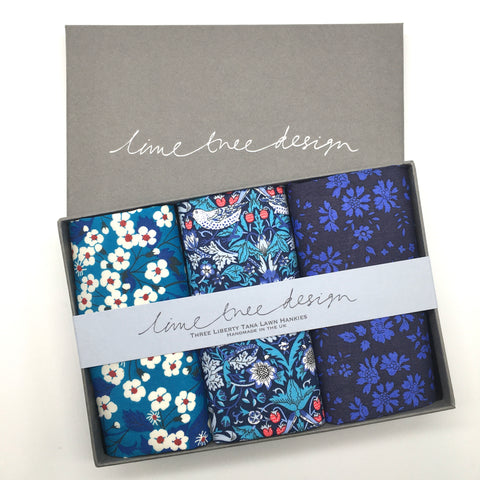 3 Liberty Hankies in a Gift Box - Eight for Eight Thirty