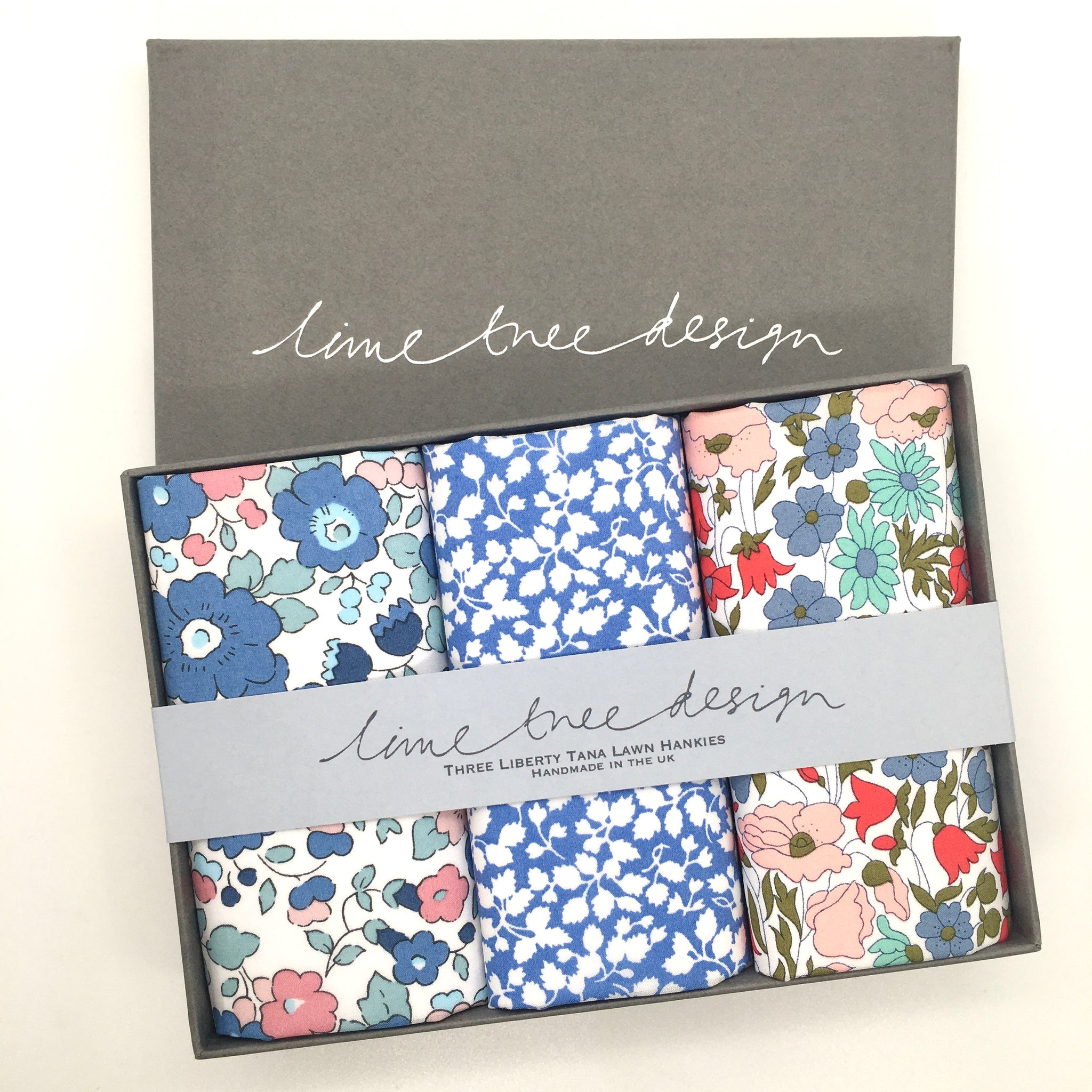 3 Liberty Hankies in a Gift Box - Larkspur
