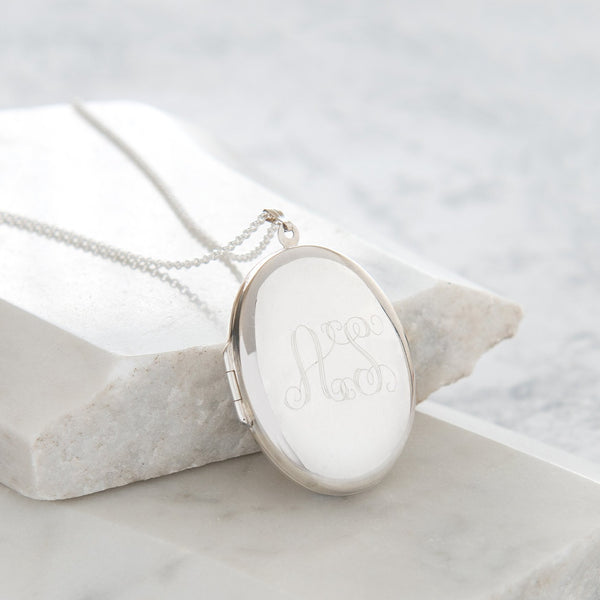 Personalised Extra Large Monogram Locket Necklace Sterling Silver