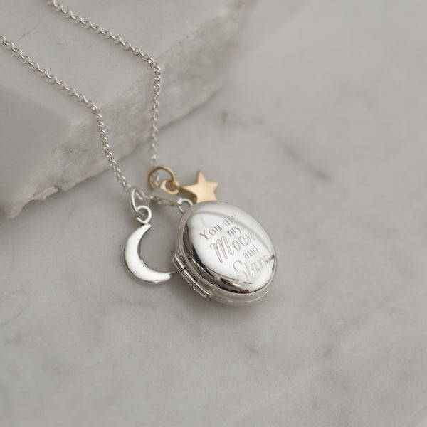 Personalised 'You are my moon and stars' Oval Locket Necklace Sterling Silver
