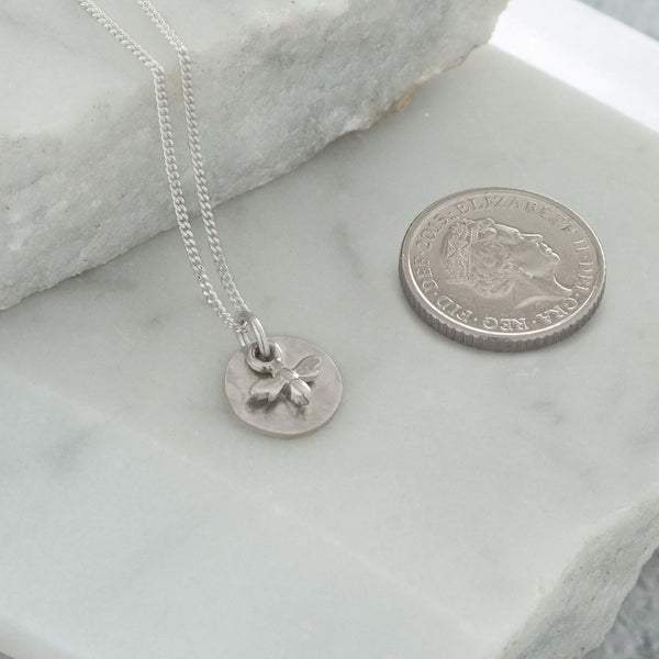 Mini Hammered Disc with Bee Necklace Sterling Silver