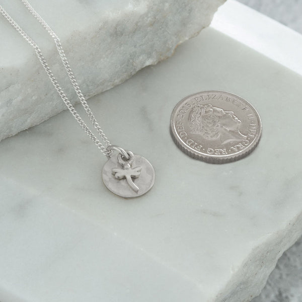 Mini Hammered Disc with Dragonfly Necklace Sterling Silver