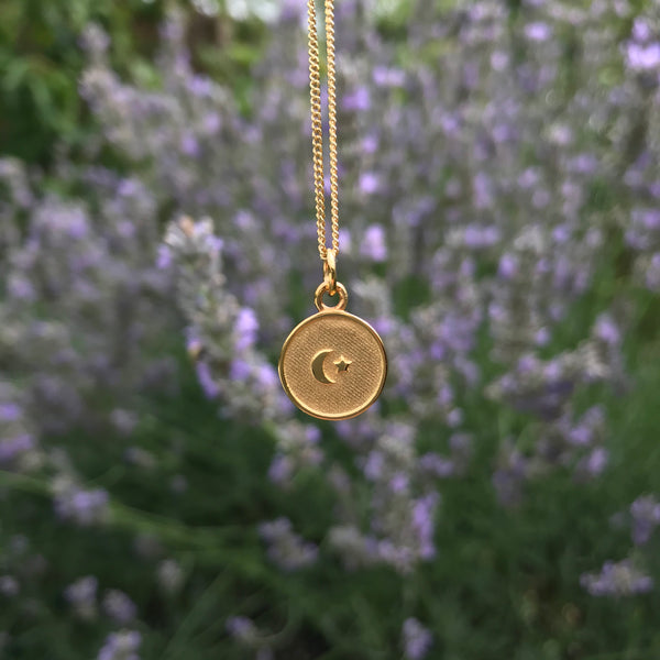 Small Moon and Star Medallion Necklace Gold Vermeil