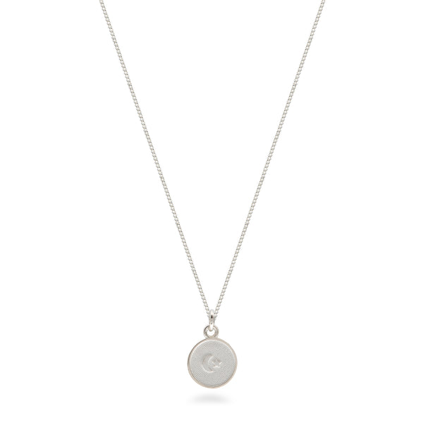 Small Moon and Star Medallion Necklace Sterling Silver